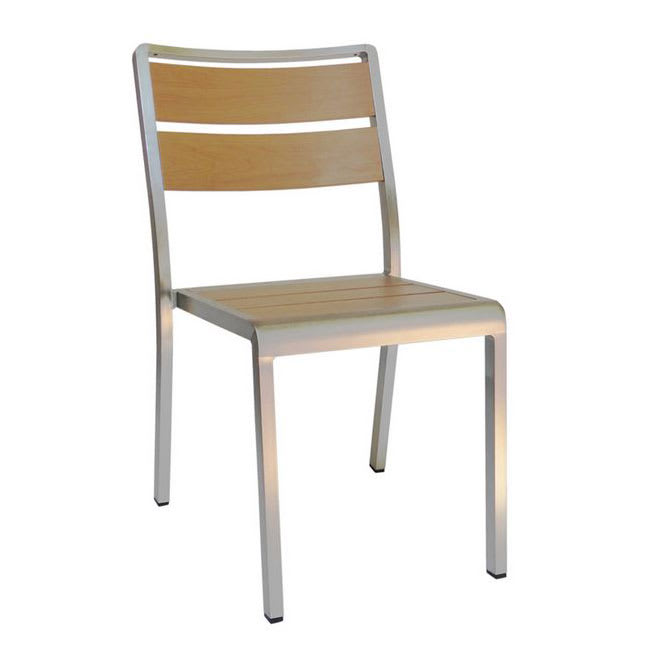 "emu 1020 30.5"" Sid Stacking Side Chair w/ Slat Back & Seat - Oak w/ Brushed Aluminum"
