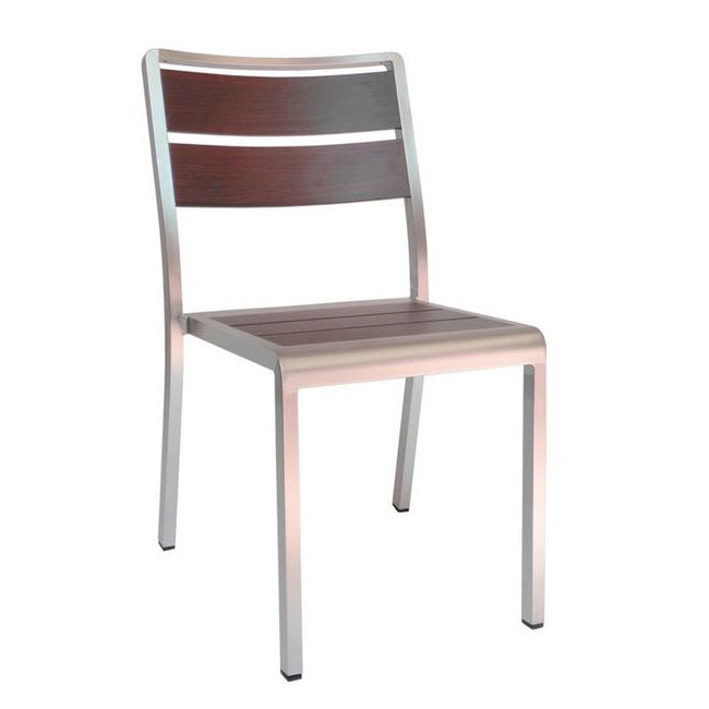 "emu 1020 30.5"" Sid Stacking Side Chair w/ Slat Back & Seat - Wenge w/ Brushed Aluminum"
