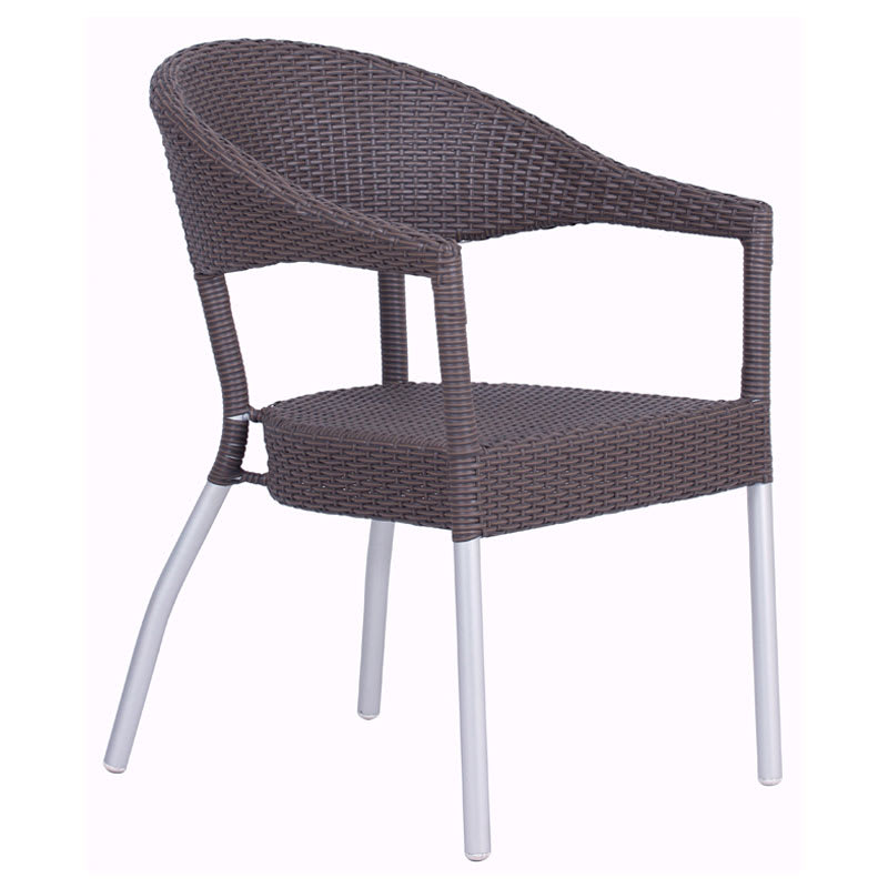 emu 1107 Donna Stacking Armchair, Wicker, Matte Aluminum, Espresso