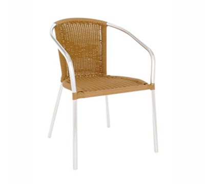 emu 1109 NATURAL Laura Stacking Armchair, Wicker, Polished Aluminum, Natural