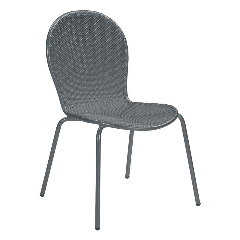 emu 111 AIRON Ronda Side Chair, Mesh Seat & Back, Tubular Frame, Iron