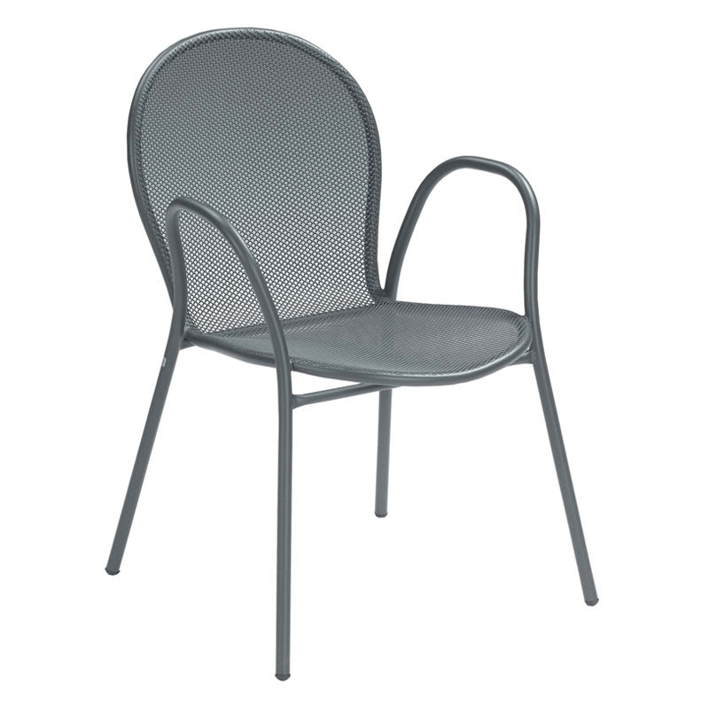 emu 116 AIRON Ronda Stacking Armchair, Mesh Seat & Back, Iron