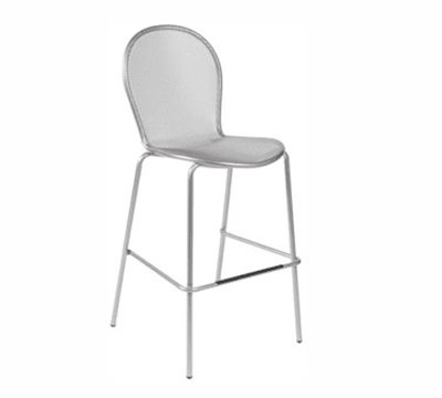 emu 119 ALU Ronda Stacking Barstool, Mesh Seat & Back, Aluminum