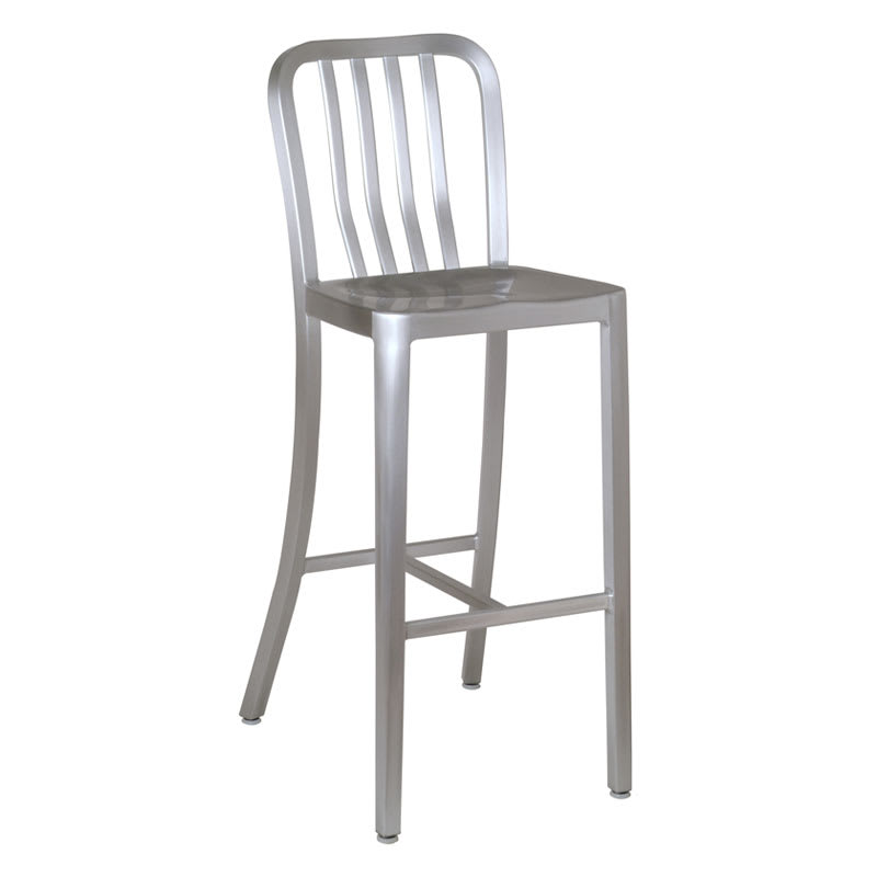 emu 1205 Anna Barstool, Foot Rest, Slat Back, Saddle Seat, Aluminum