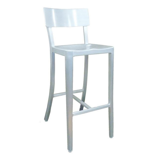 "emu 1207 42.5"" Abby Barstool w/ Solid Back - Brushed Aluminum"