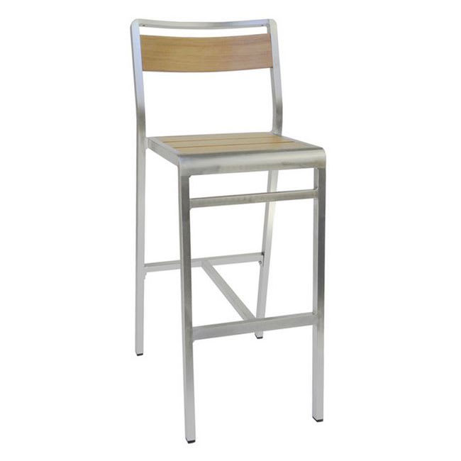"emu 1220 42.5"" Sid Barstool w/ Slat Back & Seat - Oak w/ Brushed Aluminum"
