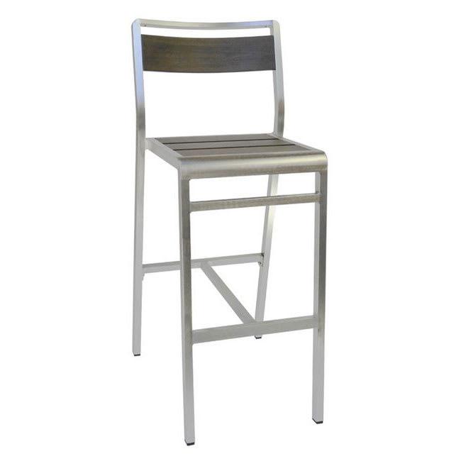"""emu 1220 42.5"""" Sid Barstool w/ Slat Back & Seat - Wenge w/ Brushed Aluminum"""