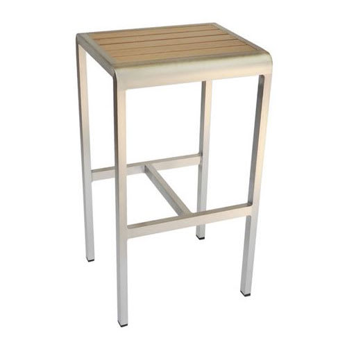 "emu 1221 30"" Sid Backless Barstool w/ Slat Back & Seat - Oak w/ Brushed Aluminum"