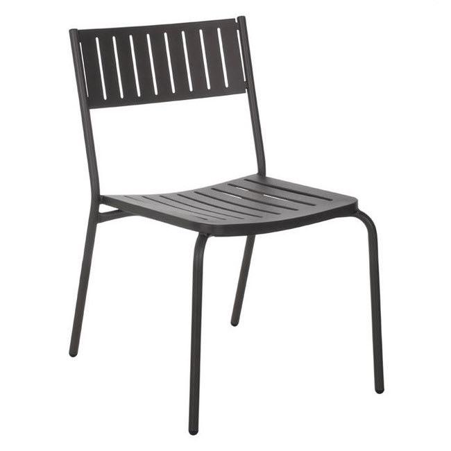 "emu 146 32.5"" Bridge Stacking Side Chair w/ Slat Back & Seat - Steel, Antique Moss Gray"