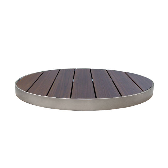 "emu 1480 26"" Sid Round Outdoor Table Top - Wood-Look, Wenge/Aluminum Edge"