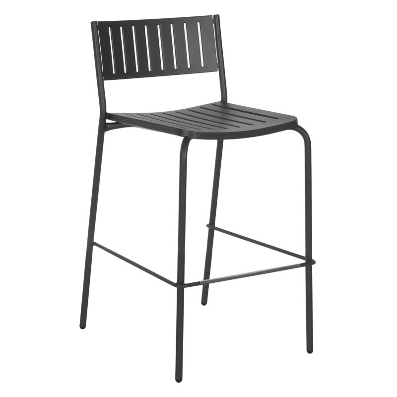 emu 148 Bridge Armless Bar Stool - Indoor/Outdoor, Steel Frame, Black