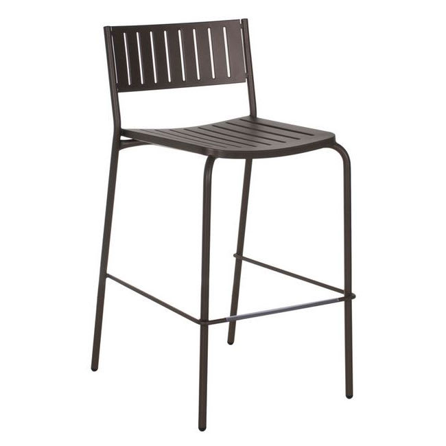 "emu 148 40.5"" Bridge Barstool w/ Slat Back & Seat - Steel, Antique Moss Gray"