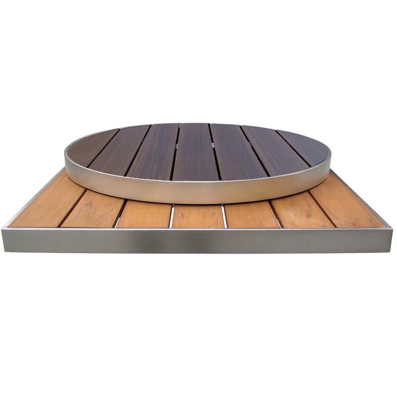 "emu 1494 26"" x 30"" Rectangular Outdoor Table Top - Wood-Look Aluminum Slats, Oak"