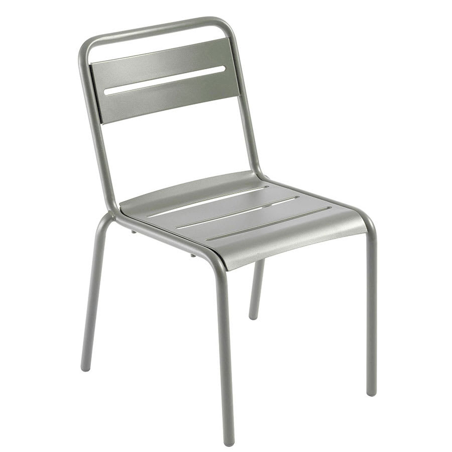 "emu 161 32"" Star Stacking Side Chair w/ Slat Back & Seat - Steel, Glossy Aluminum"