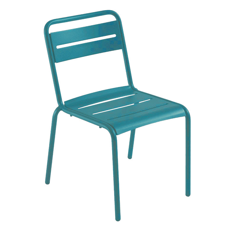 emu 161 Star Stacking Side Chair - Indoor/Outdoor, Steel Frame, Blue