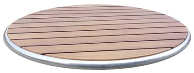 emu 1620 Ted Table Top, 24 in Diameter, Wood & Plastic Slats, Walnut