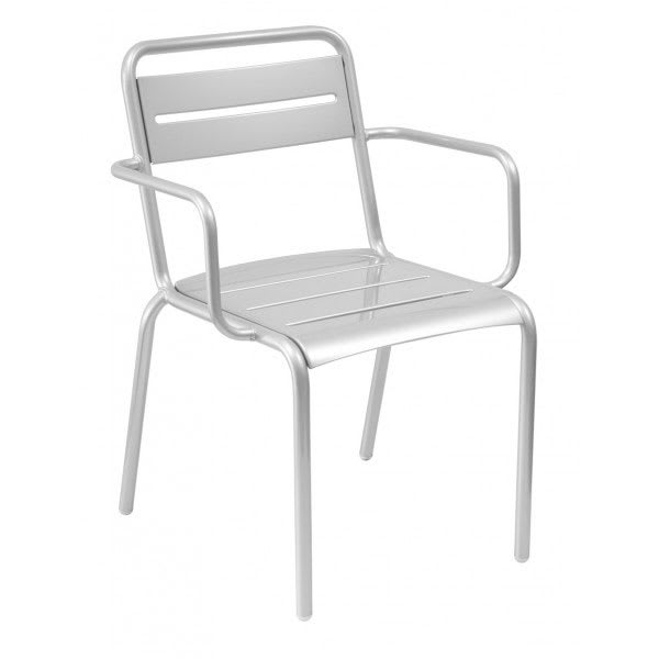 "emu 162 32"" Star Stacking Arm Chair w/ Slat Back & Seat - Steel, Glossy Aluminum"