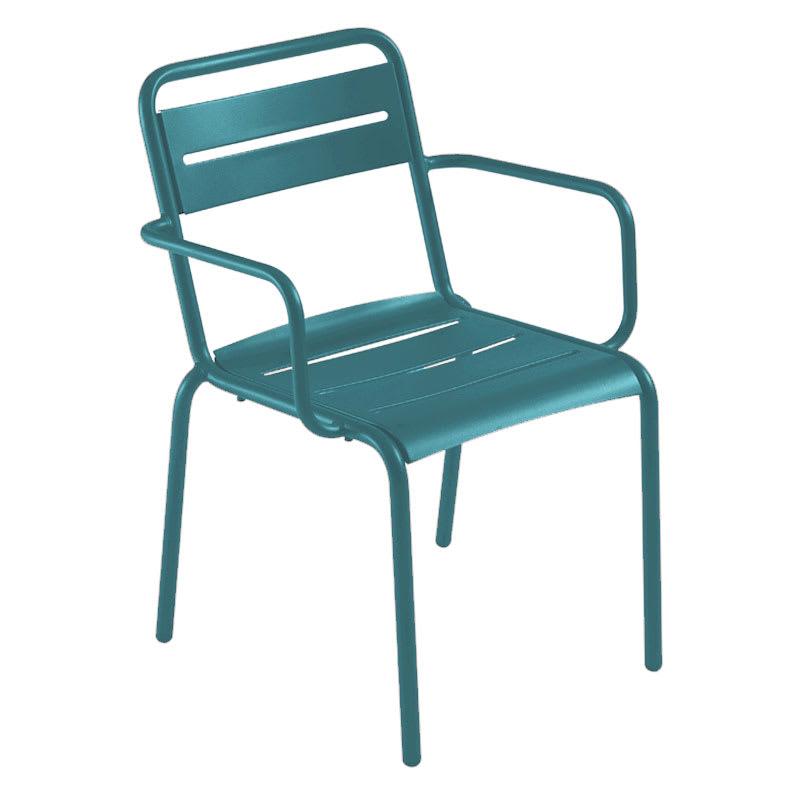 emu 162 Star Stacking Armchair - Indoor/Outdoor, Steel Frame, Blue