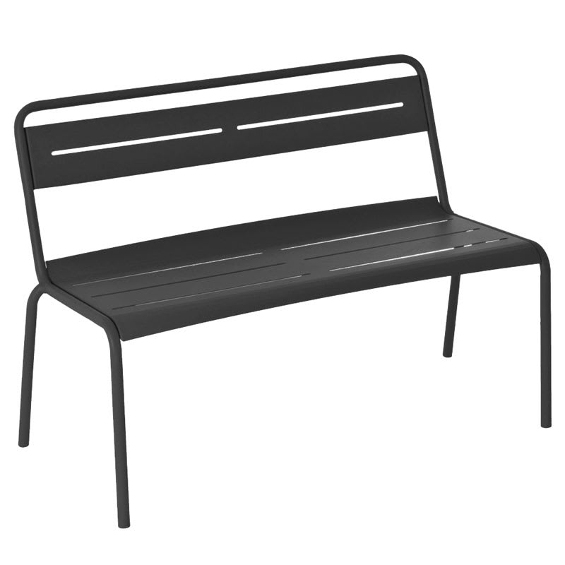 "emu 163 46.5"" Stacking Bench w/ Steel Slat Seat & Back, Tubular Steel Frame, Black"