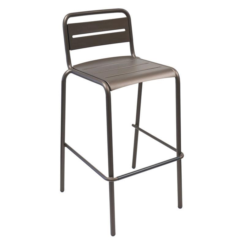emu 164 ABRONZE Stacking Barstool w/ Steel Slat Back & Steel Seat, Foot Rest, Bronze