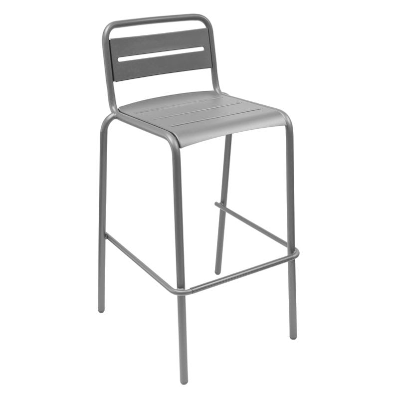 emu 164 ALU Stacking Barstool w/ Steel Slat Back & Steel Seat, Foot Rest, Aluminum