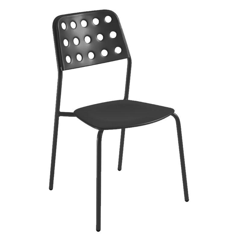 emu 169 Stacking Side Chair w/ Design Pattern Back & Steel Seat, Black