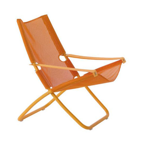 "emu 201 41.5"" Snooze Lounge Chair w/ Fabric Seat & Back - Steel Frame, Antique Orange & Peach"