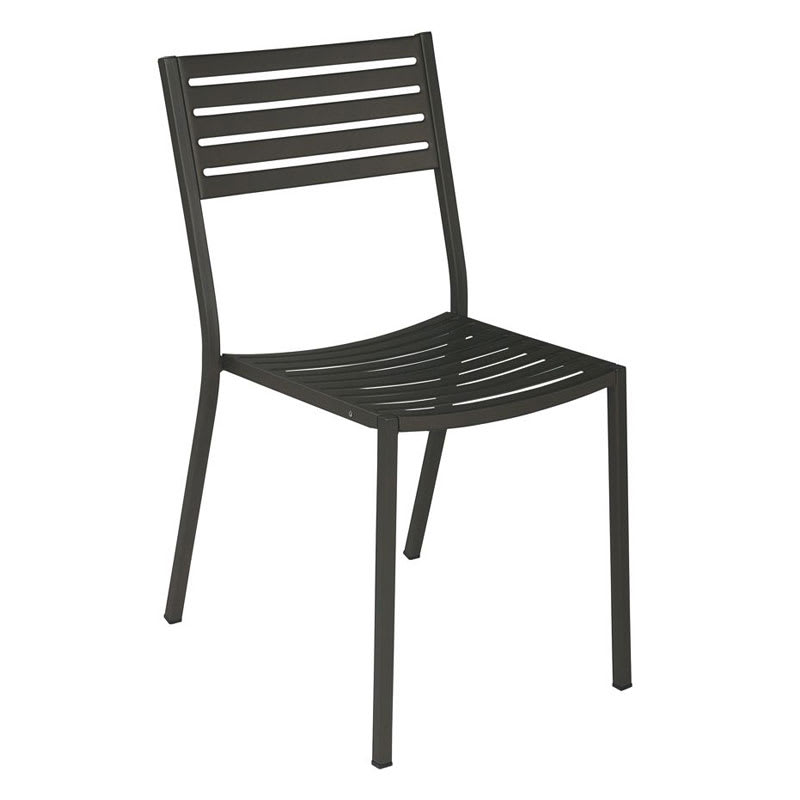emu 263 Segno Side Chair, Slatted, Square Tubular Frame, Bronze