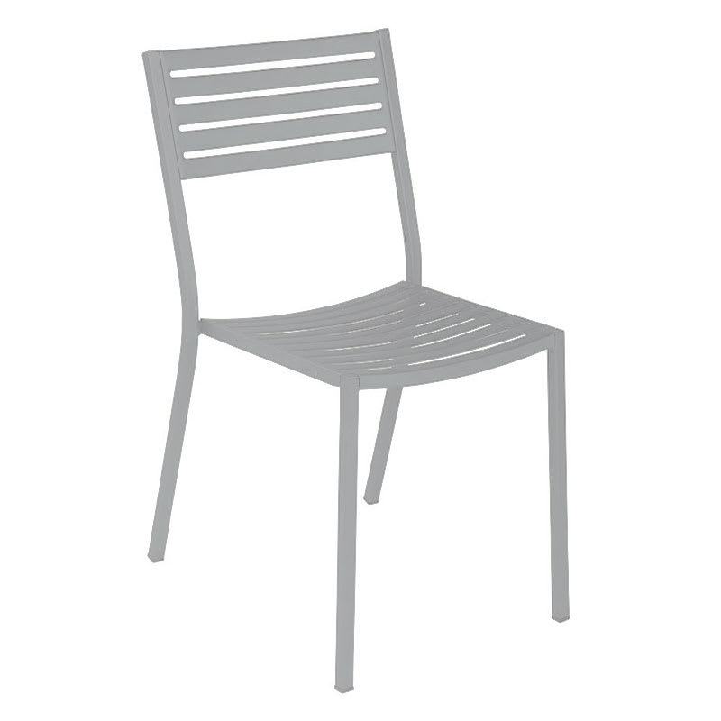 Terrific Emu 263 Alu Segno Side Chair Slatted Square Tubular Frame Aluminum Lamtechconsult Wood Chair Design Ideas Lamtechconsultcom