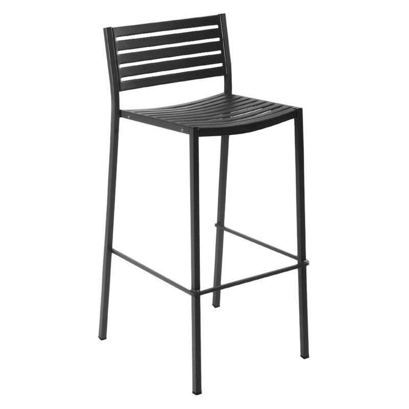 emu 264 AIRON Segno Barstool, Slat Seat & Back, Square Frame, Iron