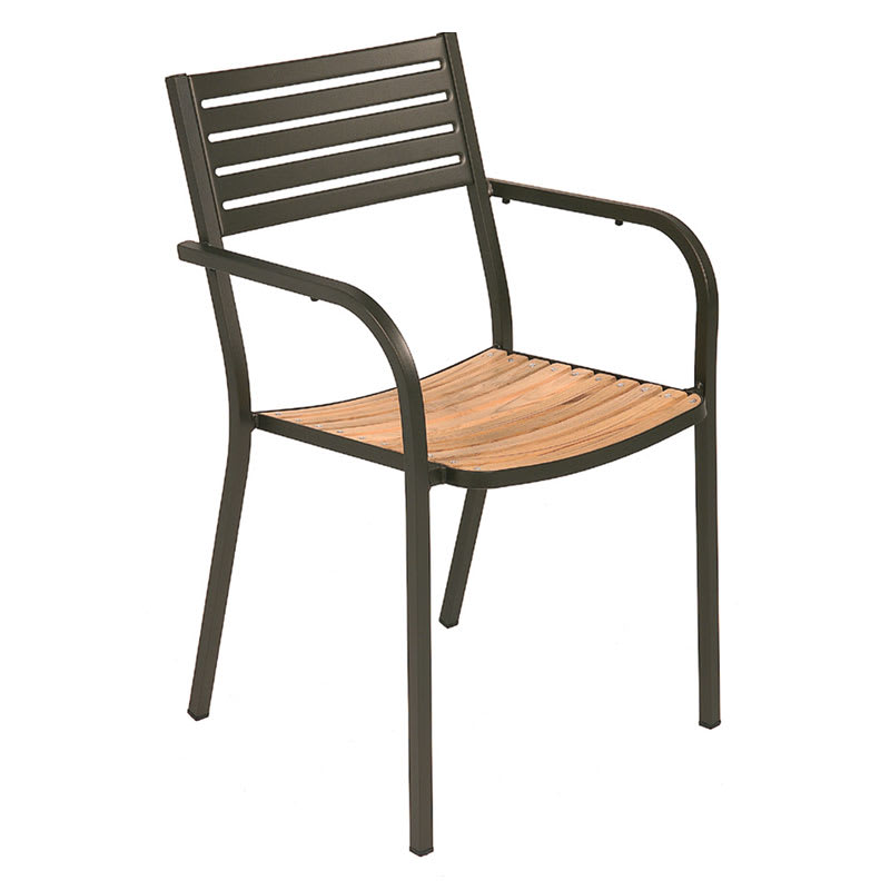 emu 267 Segno Armchair, Steel & Teak, Slatted, Bronze