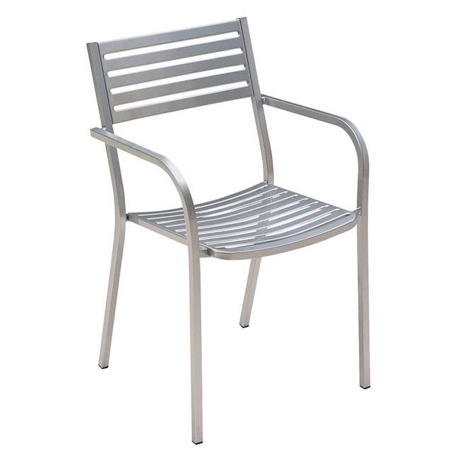 "emu 268 33"" Segno Stacking Arm Chair w/ Slat Back & Seat - Steel, Glossy Aluminum"