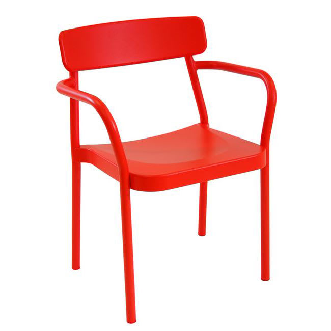 "emu 281 30.5"" Grace Stacking Arm Chair w/ Solid Back - Aluminum, Antique Cherry"