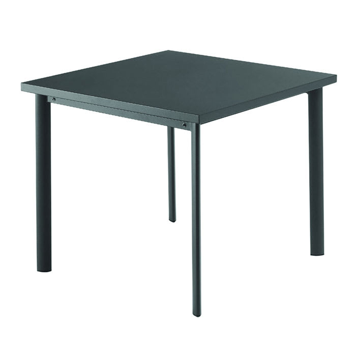 "emu 303 AIRON 40"" Square Table w/ Solid Steel Top, Tubular Steel Legs, Iron"