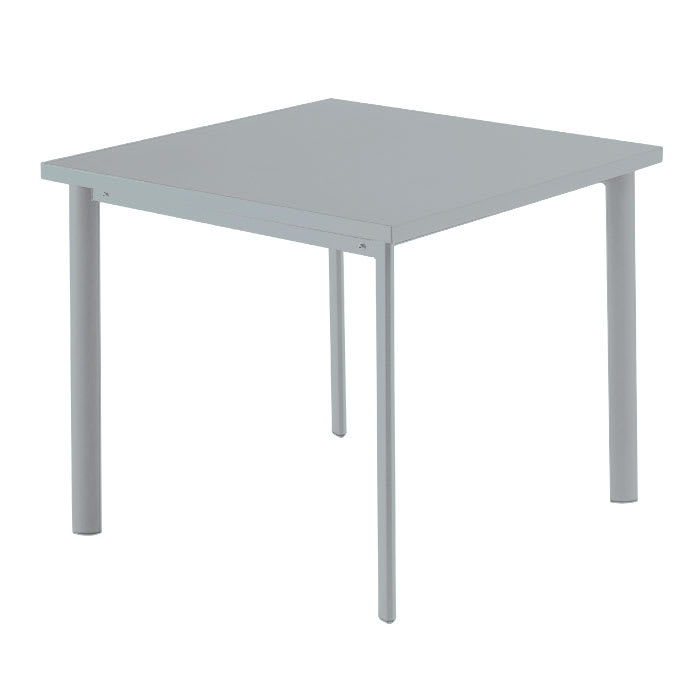 "emu 303 ALU 40"" Square Table w/ Solid Steel Top, Tubular Steel Legs, Aluminum"