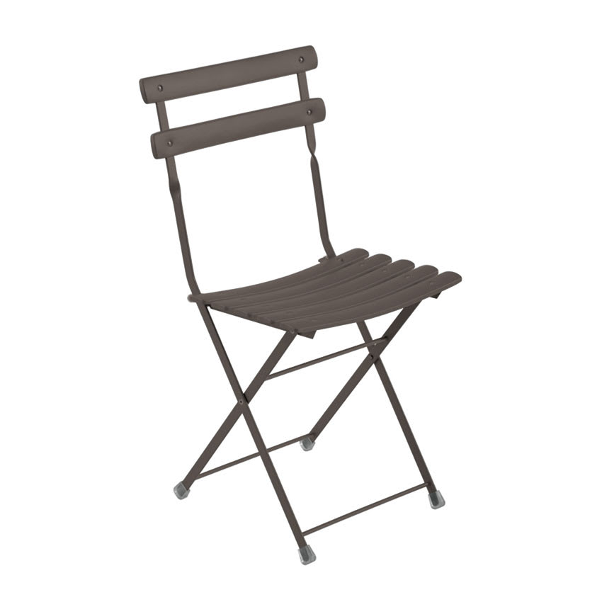 emu 314 Folding Side Chair w/ Steel Slat Back & Seat, Tubular Frame, Bronze