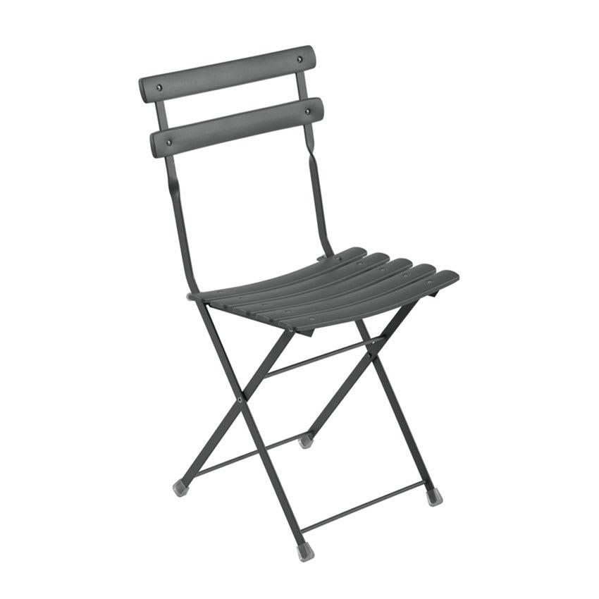 emu 314 AIRON Folding Side Chair w/ Steel Slat Back & Seat, Tubular Frame, Iron