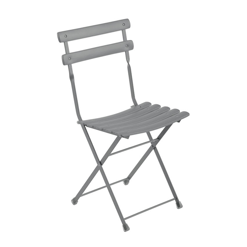 emu 314 Folding Side Chair w/ Steel Slat Back & Seat, Tubular Frame, Aluminum