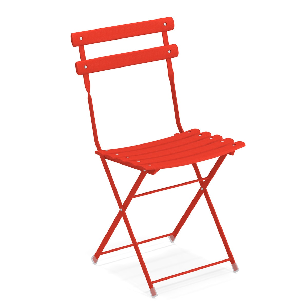 emu 314 Arc En Ciel Folding Side Chair - Indoor/Outdoor, Steel Frame, Red