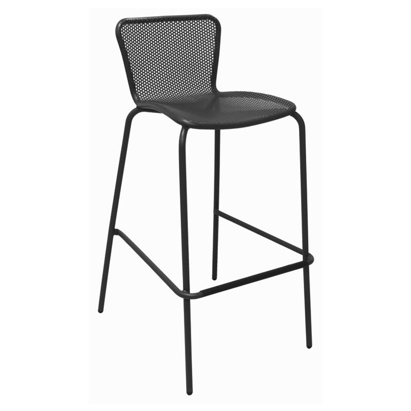 emu 335 Stacking Barstool w/ Perforated Steel Mesh Back & Seat, Tubular Frame, Black
