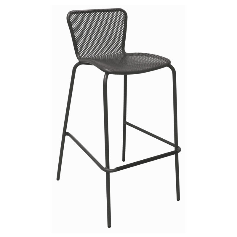 emu 335 ABRONZE Stacking Barstool w/ Perforated Steel Mesh Back & Seat, Tubular Frame, Bronze