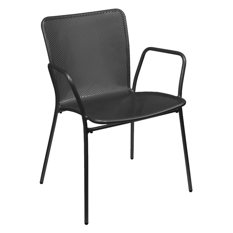 emu 339 Stacking Arm Chair w/ Perforated Steel Mesh Back & Seat, Black
