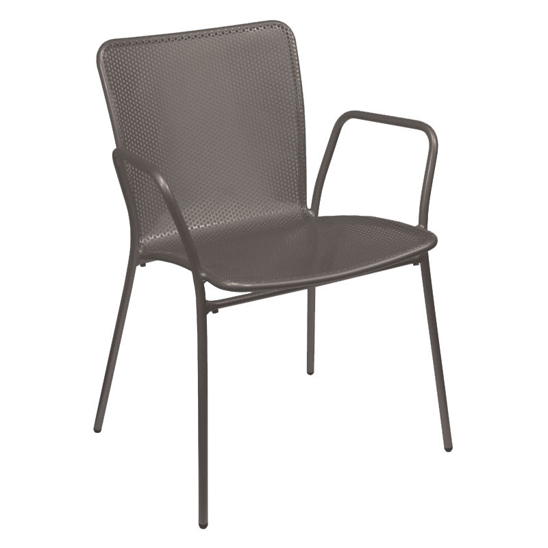 emu 339 ABRONZE Stacking Arm Chair w/ Perforated Steel Mesh Back & Seat, Bronze