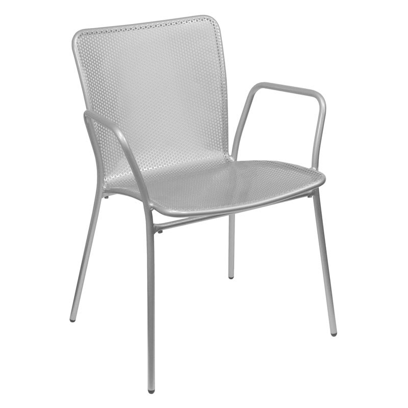 emu 339 ALU Stacking Arm Chair w/ Perforated Steel Mesh Back & Seat, Aluminum