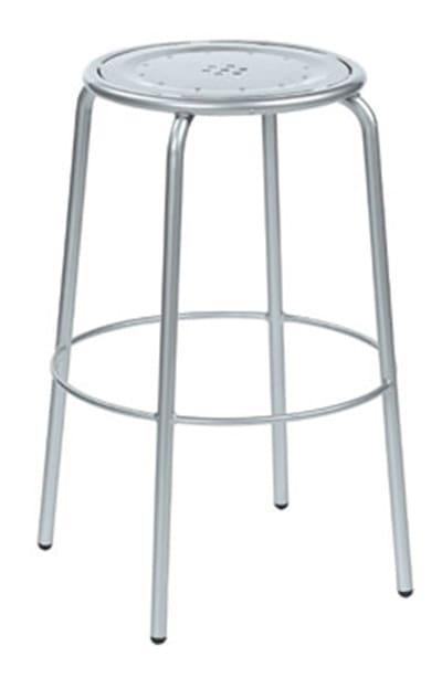 emu 387 ALU Coupole Backless Barstool, Steel Seat & Frame, Aluminum
