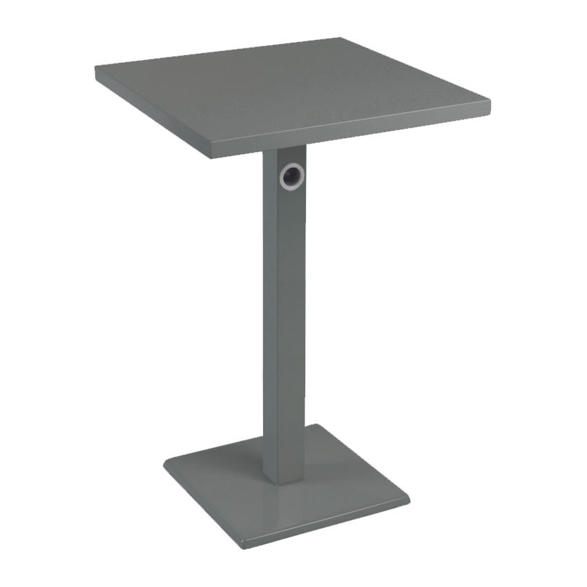 "emu 475KH AIRON 24"" Square Lock Bar Table w/ Solid Top & Pedestal, Iron"