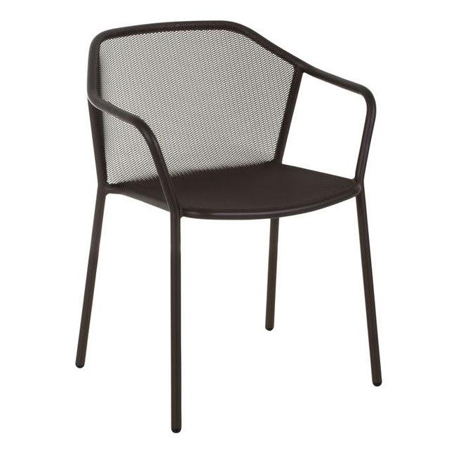 """emu 522 30.5"""" Darwin Stacking Arm Chair w/ Mesh Back & Seat - Antique Black"""