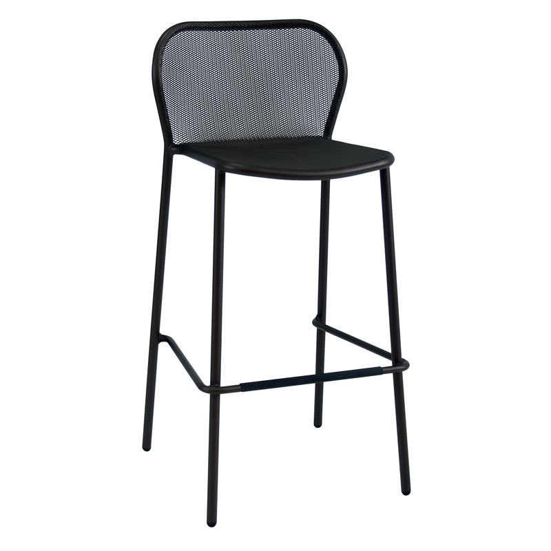 "emu 523 40.5"" Darwin Stacking Barstool w/ Mesh Back & Seat - Antique Black"