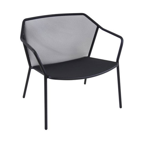 "emu 524 29.5"" Darwin Stacking Lounge Chair w/ Mesh Back & Seat - Antique Black"