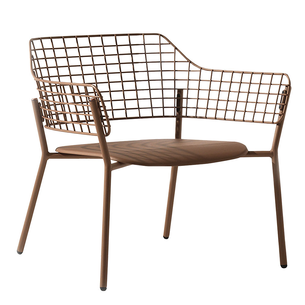 "emu 617 28.5"" Lyze Lounge Chair w/ Stainless Steel Back - Aluminum, Antique Copper"